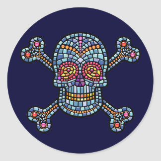 Mosaic Tile Pirate Classic Round Sticker
