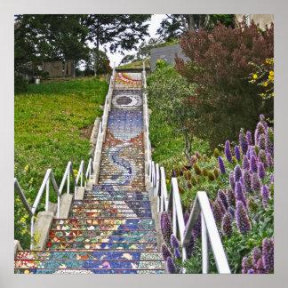 Mosaic Tile Stairway Posters