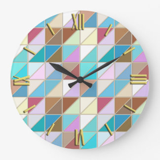 Mosaic Tiles - Pastels and earth tones Large Clock