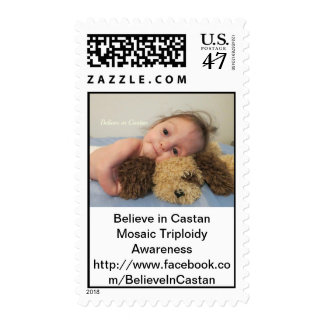 Mosaic Triploidy Awareness Castan and puppy Stamp