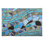 Mosaic turquoise pattern cloth placemat