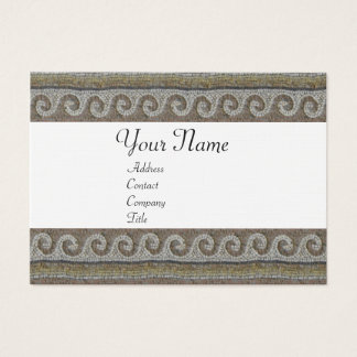 MOSAIC WAVES , light grey brown white linen Business Card