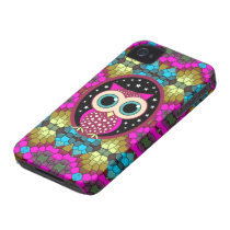 mosaic with pink owl iPhone 4 case