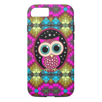 mosaic with pink owl iPhone 7 case