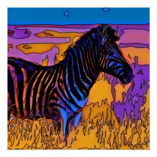 Mosaic Zebra Poster