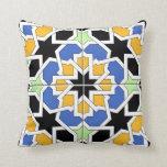 Mosaico 02 de azulejo marroquí azul y negro en almohada
