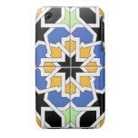 Mosaico 02 de azulejo marroquí azul y negro en iPhone 3 carcasa