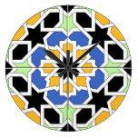 Mosaico 02 de azulejo marroquí azul y negro en reloj redondo grande