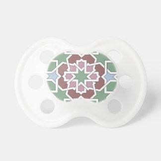 Mosaico 07 patrón de geometría árabe verde y rosa chupetes para bebés