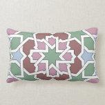 Mosaico 07 patrón de geometría árabe verde y rosa almohada