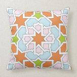 Mosaico 12 de geometría marroquí naranja y rosa cojin