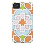Mosaico 12 de geometría marroquí naranja y rosa Case-Mate iPhone 4 funda