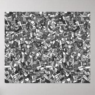 Mosaico abstracto blanco y negro impresiones
