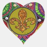 Mosaico abstracto de la teja de la flor de lis col pegatina