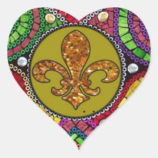 Mosaico abstracto de la teja de la flor de lis pegatina en forma de corazón