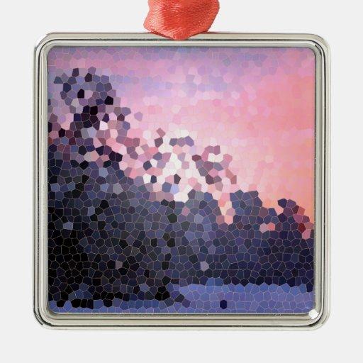 Mosaico abstracto de los árboles de la puesta del adorno de navidad