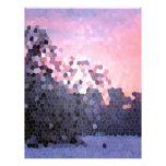Mosaico abstracto de los árboles de la puesta del  plantilla de membrete