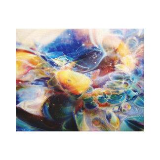 Mosaico abstracto del arco iris de Lampwork Boro J Impresión En Lona