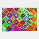 Mosaico abstracto verde rojo toallas de cocina