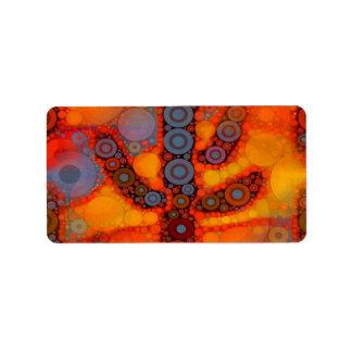 Mosaico al sudoeste púrpura anaranjado del cactus  etiquetas de dirección