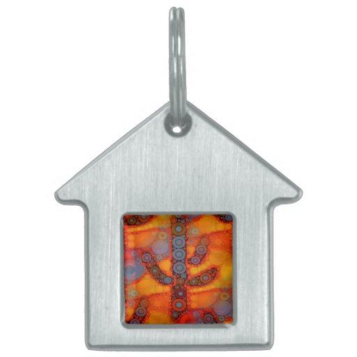 Mosaico al sudoeste púrpura anaranjado del cactus  placa de mascota