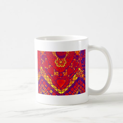 mosaico amarillo del rojo azul taza