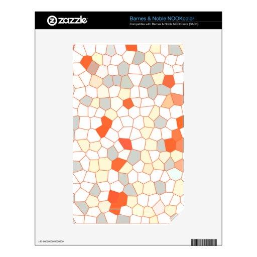 Mosaico anaranjado blanco de la plata abstracta de NOOK color skins
