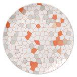 Mosaico anaranjado blanco de la plata abstracta de plato para fiesta