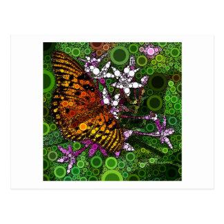 Mosaico anaranjado de la mariposa tarjeta postal