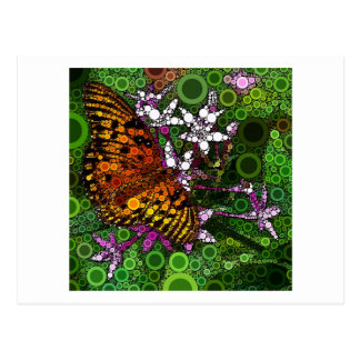 Mosaico anaranjado de la mariposa tarjetas postales