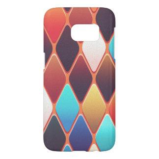 Mosaico anaranjado del diamante funda samsung galaxy s7