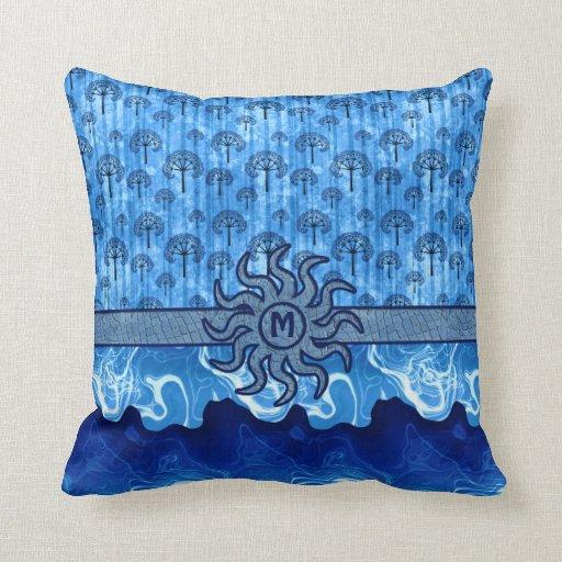 Mosaico azul abstracto de las olas oceánicas de la cojin