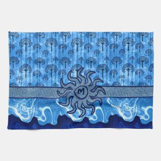 Mosaico azul abstracto de las olas oceánicas de la toallas
