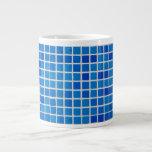 Mosaico azul abstracto taza extra grande