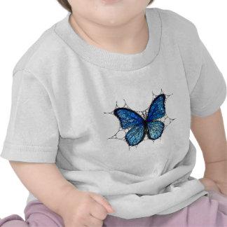 Mosaico azul de la mariposa camisetas