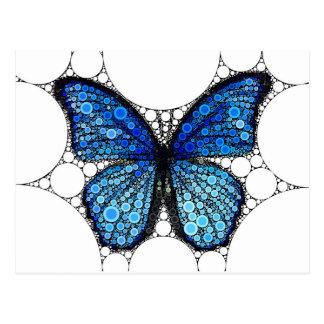 Mosaico azul de la mariposa tarjeta postal