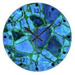 Mosaico azul del añil reloj de pared