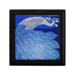 Mosaico azul del pavo real caja de regalo