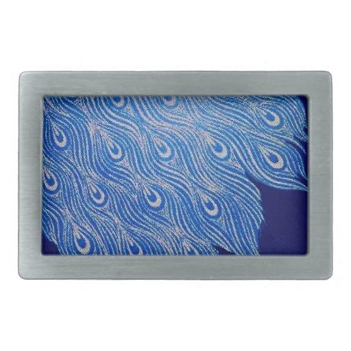 Mosaico azul del pavo real hebilla cinturon rectangular