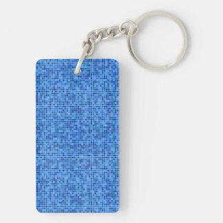 Mosaico azul del pixel llavero rectangular acrílico a doble cara
