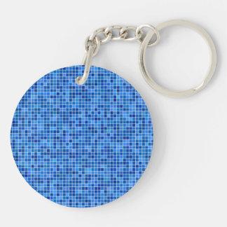 Mosaico azul del pixel llavero redondo acrílico a doble cara