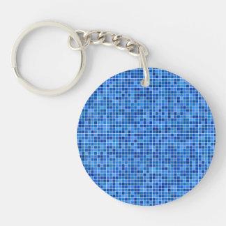 Mosaico azul del pixel llavero redondo acrílico a una cara