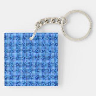 Mosaico azul del pixel llavero cuadrado acrílico a doble cara