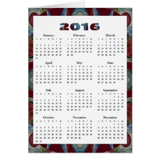 mosaico azul rojo del marrón anual del calendario tarjeta de felicitación