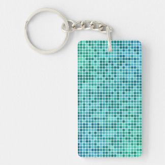 Mosaico azulverde del pixel llavero rectangular acrílico a una cara