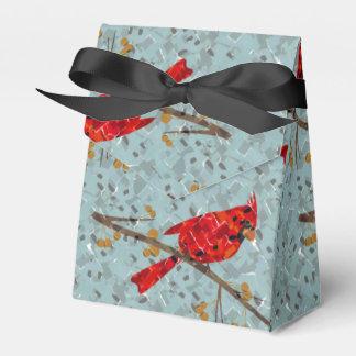 Mosaico cardinal rojo caja para regalo de boda