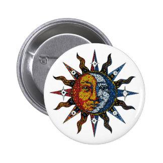 Mosaico celestial Sun y luna Pin Redondo De 2 Pulgadas