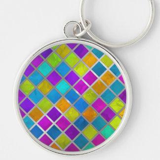 Mosaico coloreado multi de la joya llavero redondo plateado