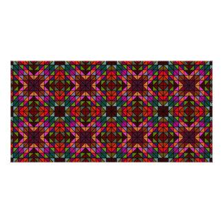 Mosaico colorido del triángulo tarjeta personal con foto