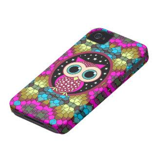 mosaico con el búho rosado iPhone 4 Case-Mate cárcasa